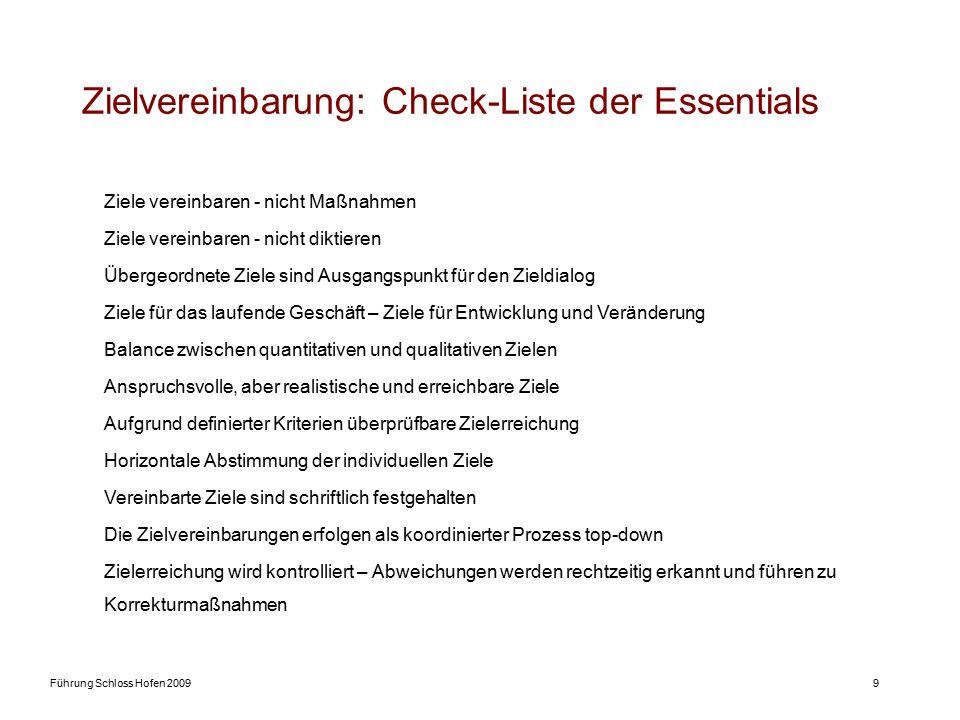 Führung Schloss Hofen 20099 Zielvereinbarung: Check-Liste der Essentials Ziele vereinbaren - nicht Maßnahmen Ziele vereinbaren - nicht diktieren Überg