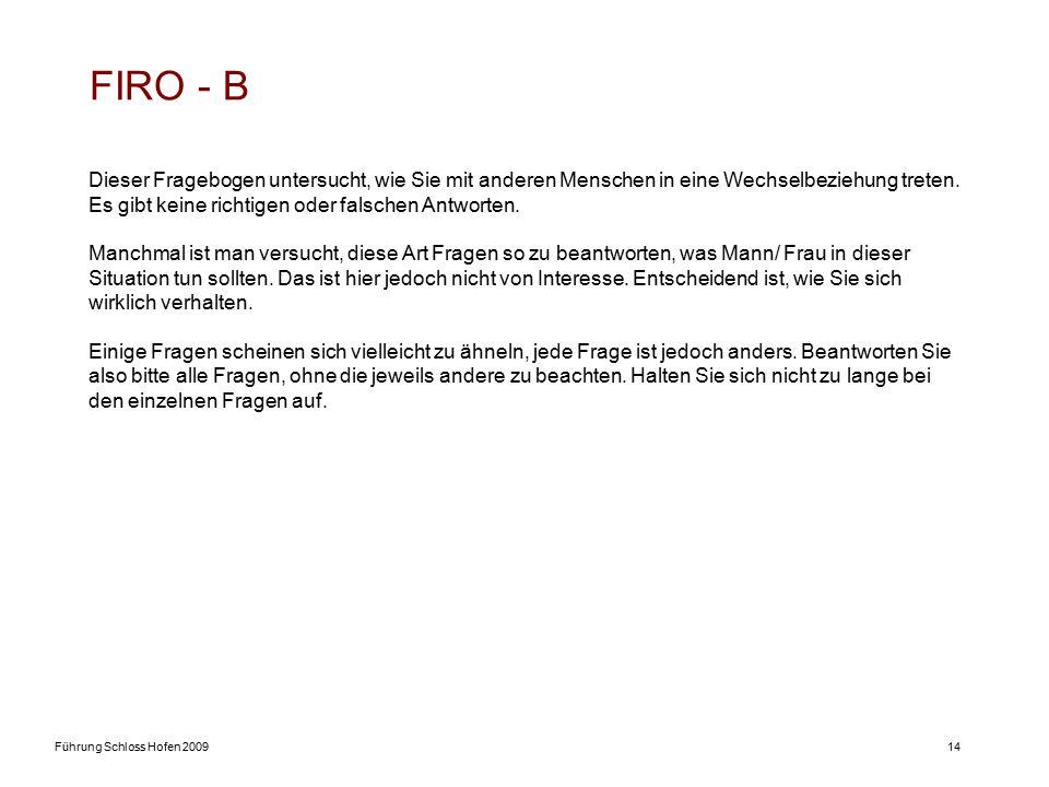 Führung Schloss Hofen 200914 FIRO - B Dieser Fragebogen untersucht, wie Sie mit anderen Menschen in eine Wechselbeziehung treten. Es gibt keine richti