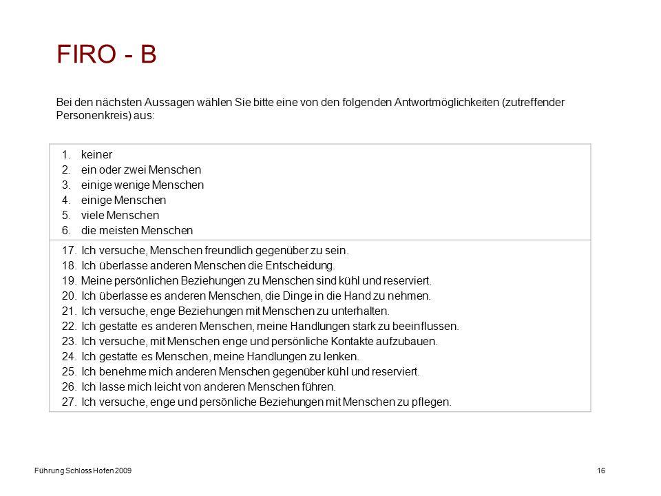 Führung Schloss Hofen 200916 FIRO - B Bei den nächsten Aussagen wählen Sie bitte eine von den folgenden Antwortmöglichkeiten (zutreffender Personenkreis) aus: 1.