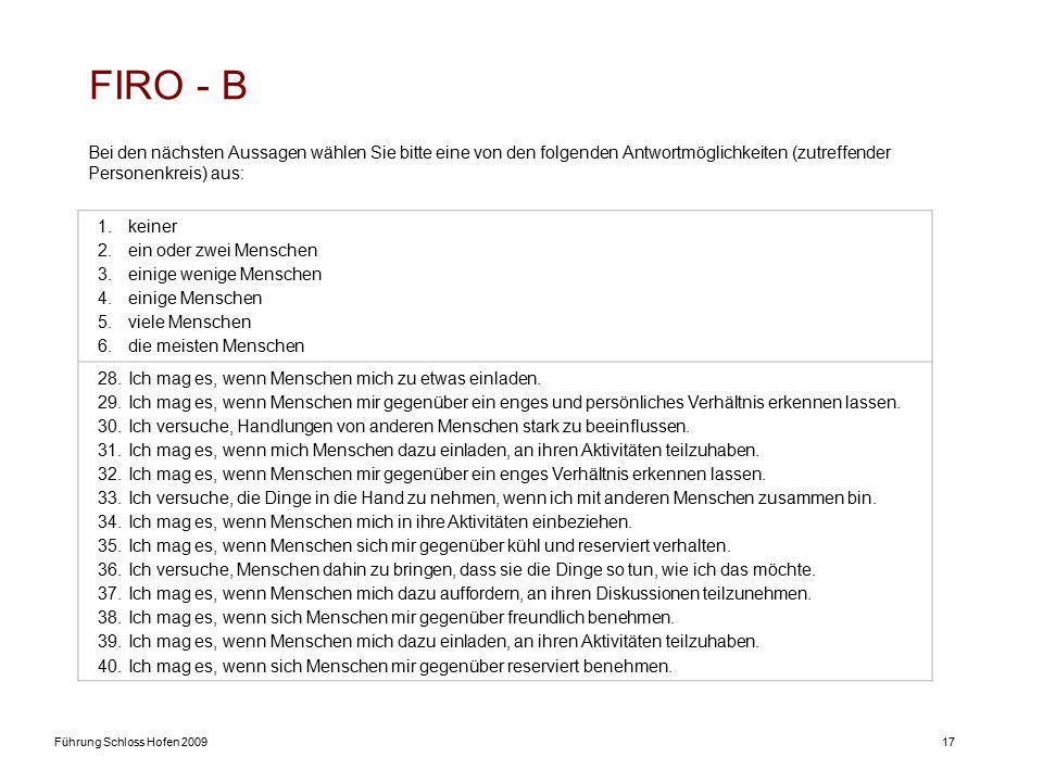 Führung Schloss Hofen 200917 FIRO - B Bei den nächsten Aussagen wählen Sie bitte eine von den folgenden Antwortmöglichkeiten (zutreffender Personenkreis) aus: 1.