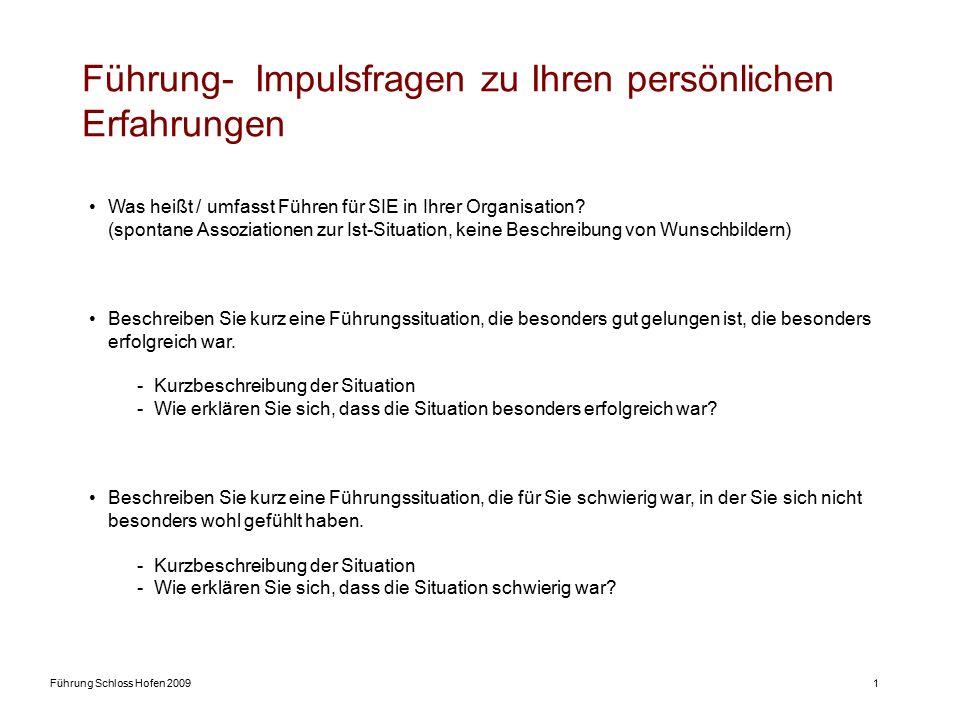 Führung Schloss Hofen 20091 Führung- Impulsfragen zu Ihren persönlichen Erfahrungen Was heißt / umfasst Führen für SIE in Ihrer Organisation? (spontan