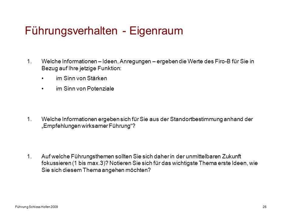 Führung Schloss Hofen 200926 Führungsverhalten - Eigenraum 1.Welche Informationen – Ideen, Anregungen – ergeben die Werte des Firo-B für Sie in Bezug