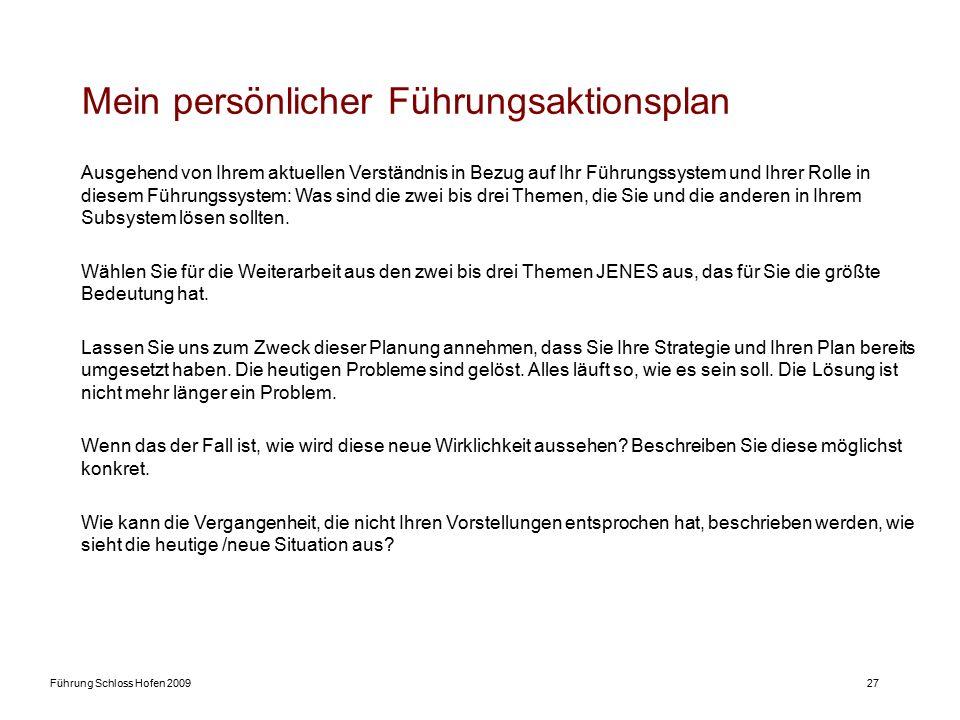 Führung Schloss Hofen 200927 Mein persönlicher Führungsaktionsplan Ausgehend von Ihrem aktuellen Verständnis in Bezug auf Ihr Führungssystem und Ihrer