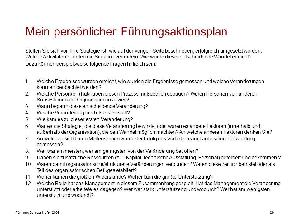 Führung Schloss Hofen 200929 Mein persönlicher Führungsaktionsplan 1.Welche Ergebnisse wurden erreicht, wie wurden die Ergebnisse gemessen und welche