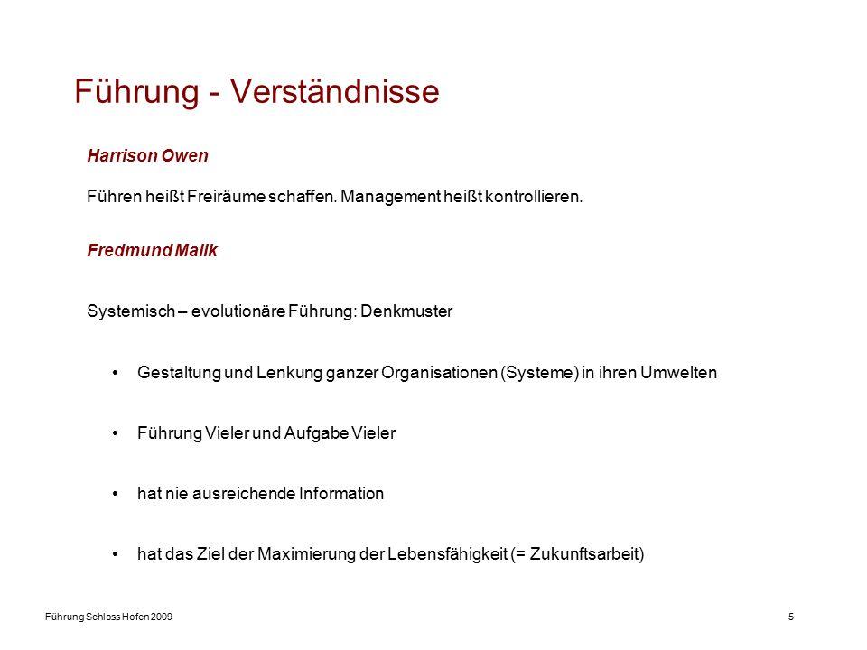 Führung Schloss Hofen 20095 Führung - Verständnisse Harrison Owen Führen heißt Freiräume schaffen. Management heißt kontrollieren. Fredmund Malik Syst