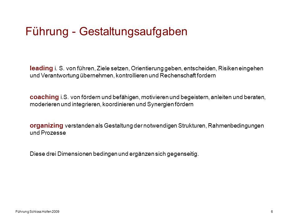 Führung Schloss Hofen 20096 Führung - Gestaltungsaufgaben leading i. S. von führen, Ziele setzen, Orientierung geben, entscheiden, Risiken eingehen un