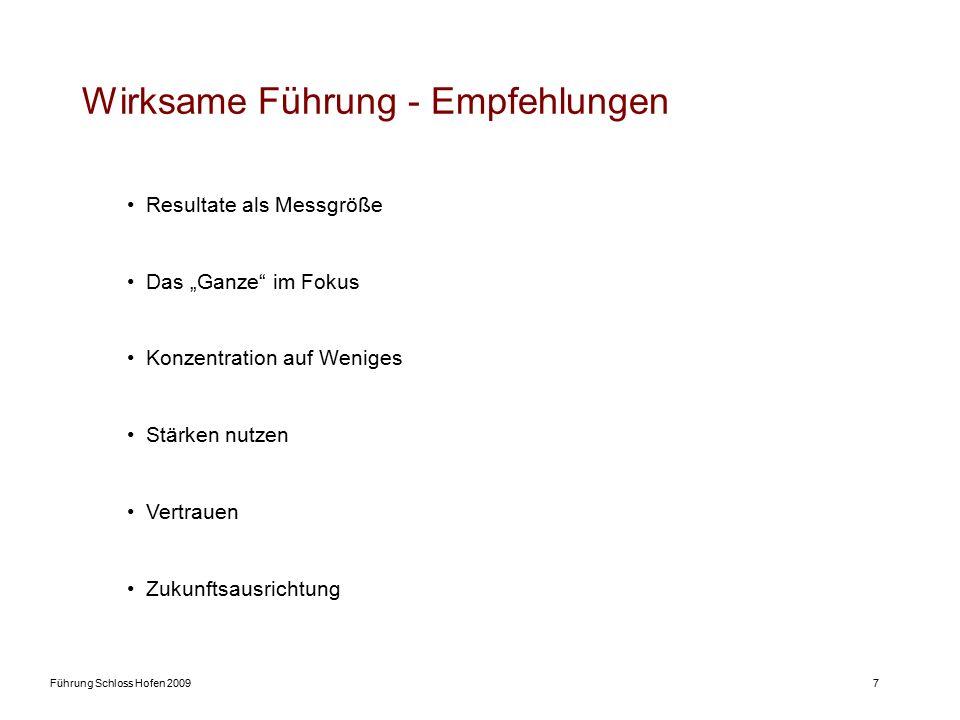 """Führung Schloss Hofen 20097 Wirksame Führung - Empfehlungen Resultate als Messgröße Das """"Ganze im Fokus Konzentration auf Weniges Stärken nutzen Vertrauen Zukunftsausrichtung"""