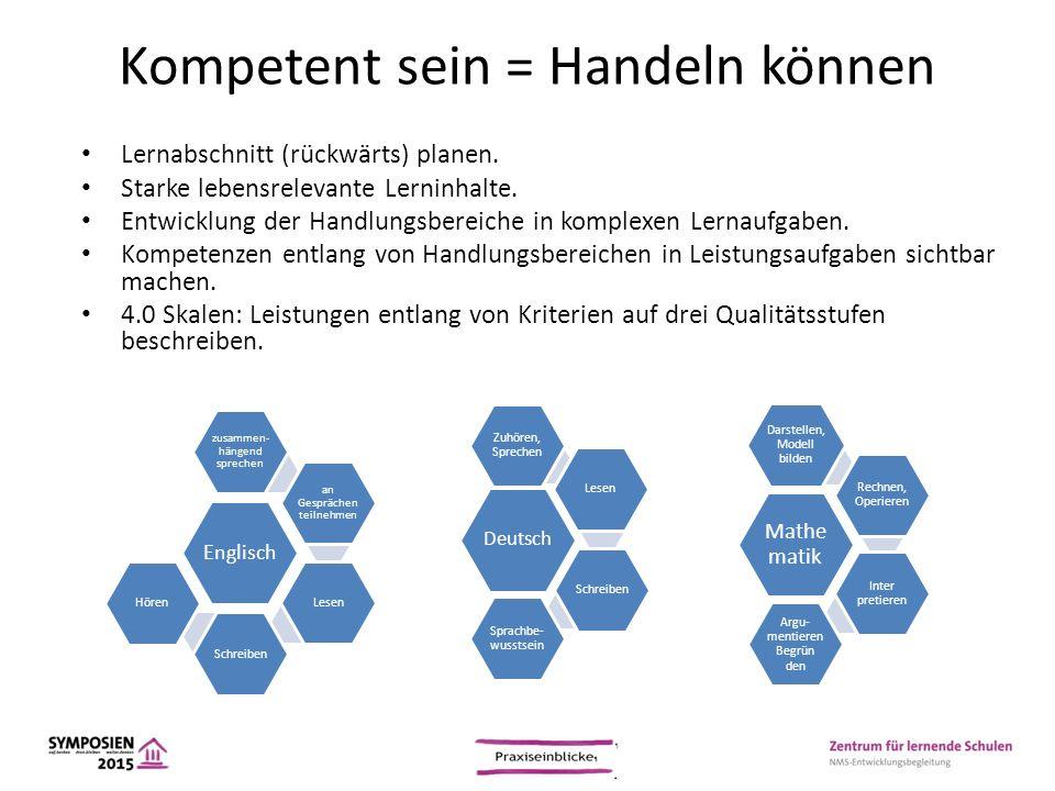 Kompetent sein = Handeln können Lernabschnitt (rückwärts) planen. Starke lebensrelevante Lerninhalte. Entwicklung der Handlungsbereiche in komplexen L