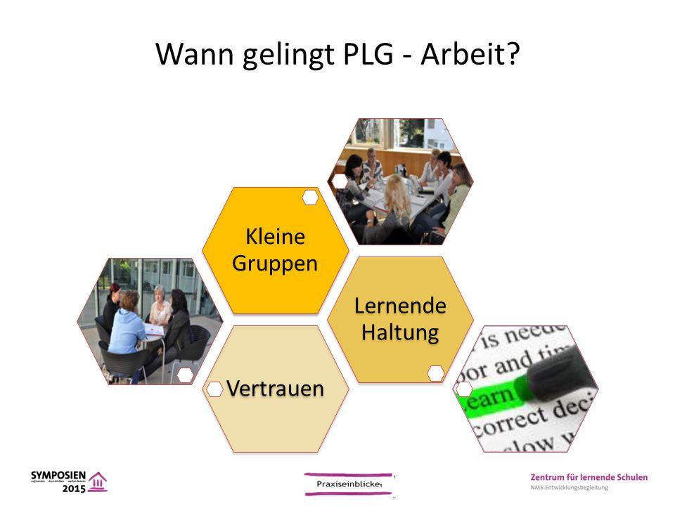 Wann gelingt PLG - Arbeit? Vertrauen Lernende Haltung Kleine Gruppen