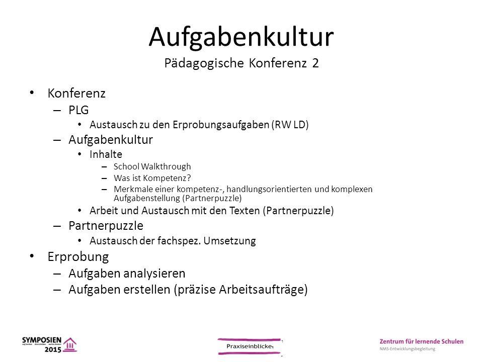 Aufgabenkultur Pädagogische Konferenz 2 Konferenz – PLG Austausch zu den Erprobungsaufgaben (RW LD) – Aufgabenkultur Inhalte – School Walkthrough – Wa