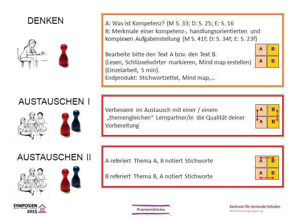 A: Was ist Kompetenz? (M S. 33; D: S. 25; E: S. 16 B: Merkmale einer kompetenz-, handlungsorientierten und komplexen Aufgabenstellung (M S. 41f; D: S.