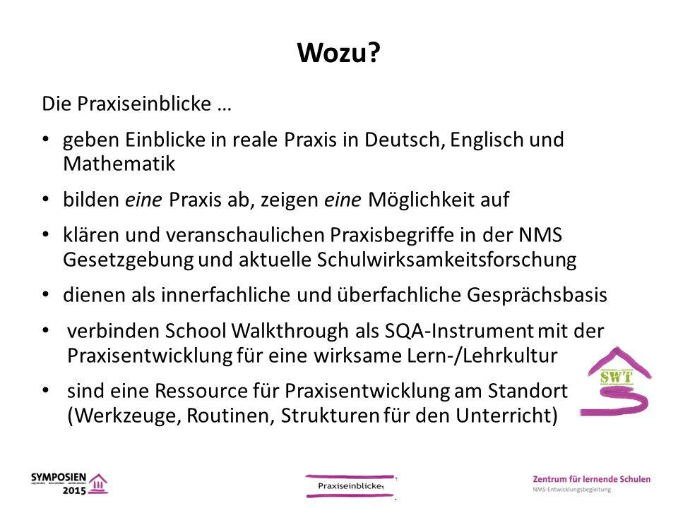 Wozu? Die Praxiseinblicke … geben Einblicke in reale Praxis in Deutsch, Englisch und Mathematik bilden eine Praxis ab, zeigen eine Möglichkeit auf klä