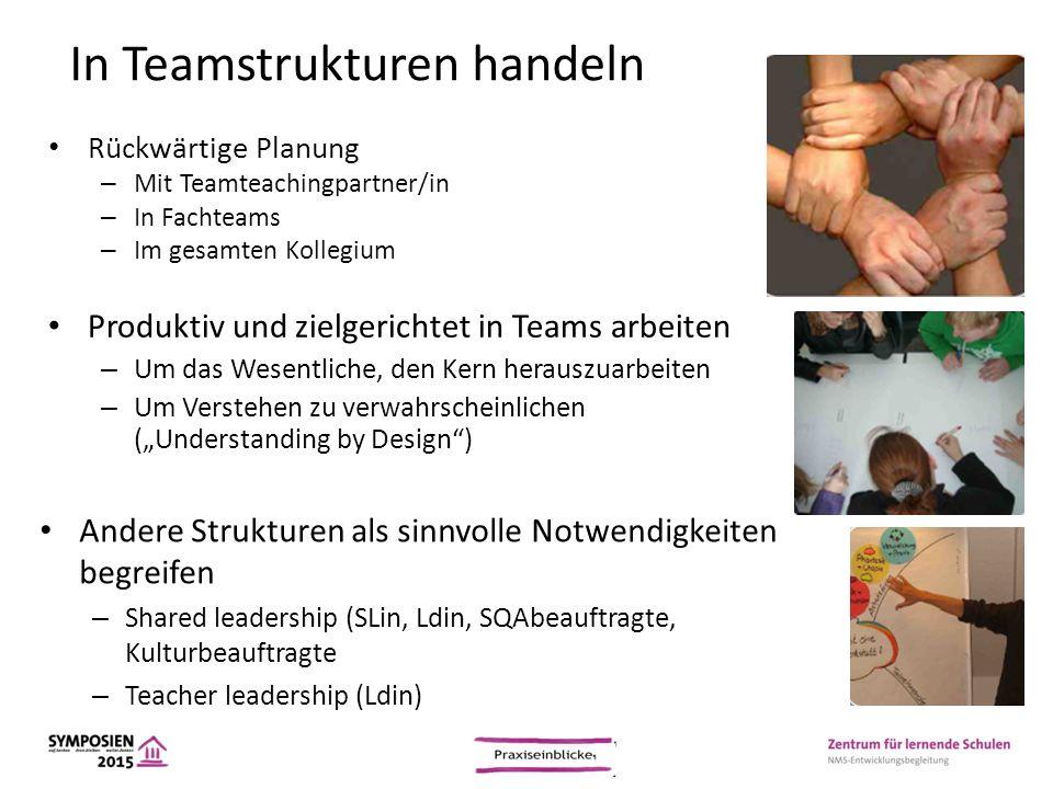 In Teamstrukturen handeln Rückwärtige Planung – Mit Teamteachingpartner/in – In Fachteams – Im gesamten Kollegium Produktiv und zielgerichtet in Teams