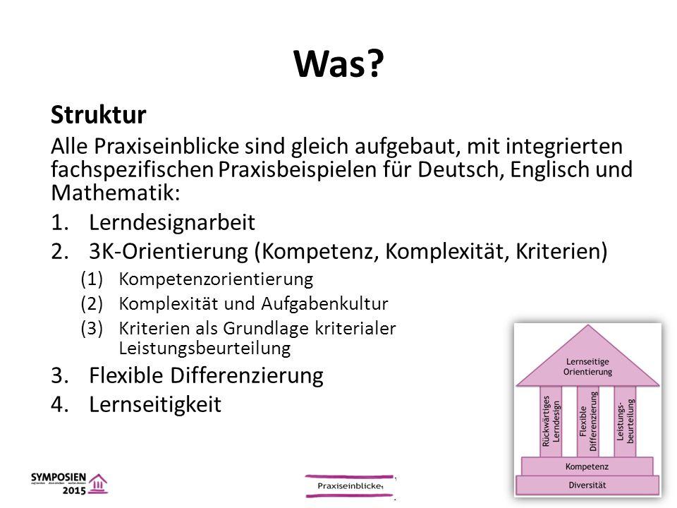 Was? Struktur Alle Praxiseinblicke sind gleich aufgebaut, mit integrierten fachspezifischen Praxisbeispielen für Deutsch, Englisch und Mathematik: 1.L