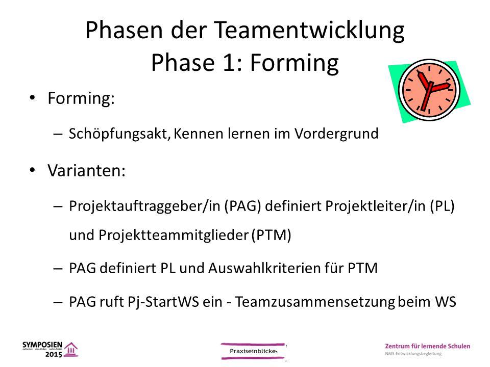 Phasen der Teamentwicklung Phase 1: Forming Forming: – Schöpfungsakt, Kennen lernen im Vordergrund Varianten: – Projektauftraggeber/in (PAG) definiert
