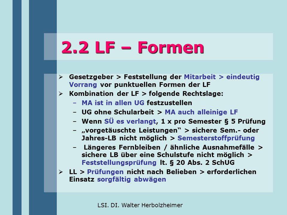 LSI. DI. Walter Herbolzheimer 2.2 LF – Formen  Gesetzgeber > Feststellung der Mitarbeit > eindeutig Vorrang vor punktuellen Formen der LF  Kombinati