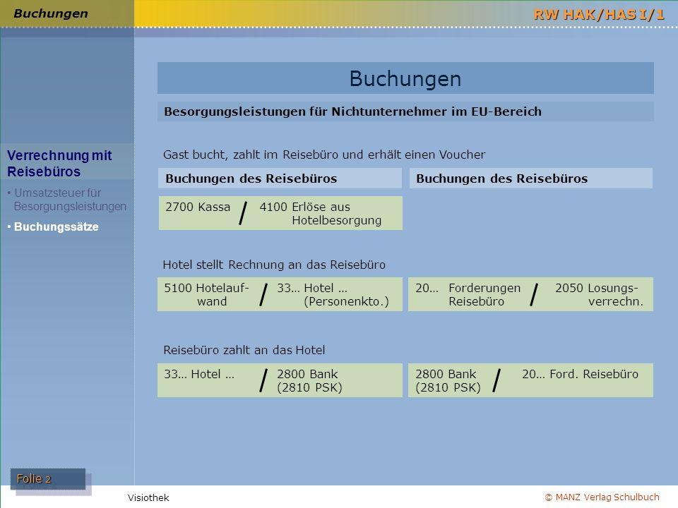 © MANZ Verlag Schulbuch Folie 2 RW HAK/HAS I/1 Visiothek Buchungen Verrechnung mit Reisebüros Umsatzsteuer für Besorgungsleistungen Buchungssätze Buch