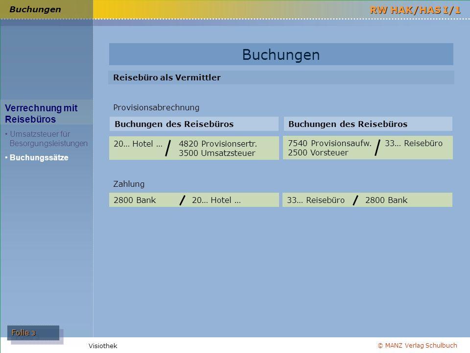 © MANZ Verlag Schulbuch Folie 3 RW HAK/HAS I/1 Visiothek Buchungen Verrechnung mit Reisebüros Umsatzsteuer für Besorgungsleistungen Buchungssätze Buch