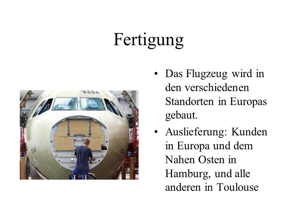 Fertigung Das Flugzeug wird in den verschiedenen Standorten in Europas gebaut.