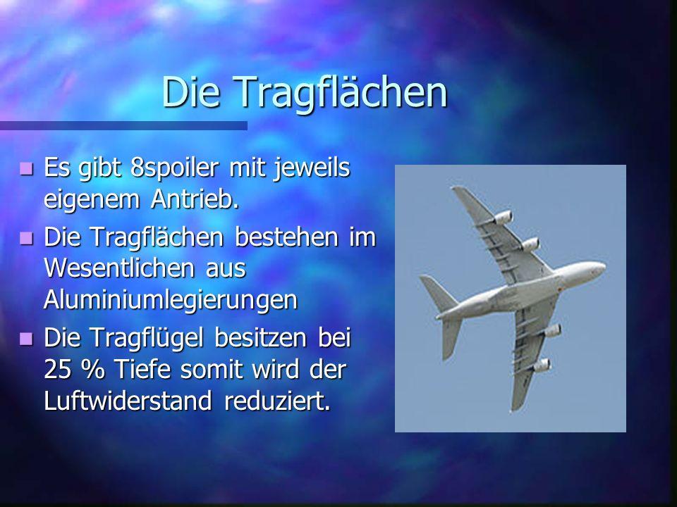 Der Rumpf der Airbus A380 Der Flugzeugrumpf hat 3decks: Ober-, Haupt- und Unterdeck Der Rumpf besteht meist aus Aluminium-Lithium- Legierungen Das hin