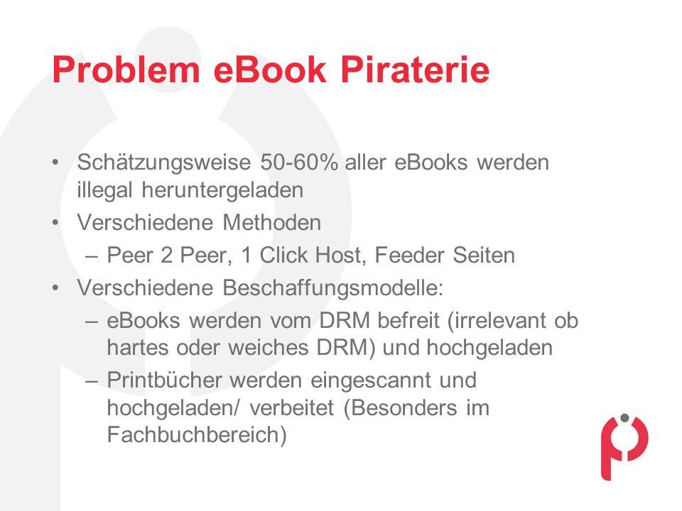 Problem eBook Piraterie Schätzungsweise 50-60% aller eBooks werden illegal heruntergeladen Verschiedene Methoden –Peer 2 Peer, 1 Click Host, Feeder Seiten Verschiedene Beschaffungsmodelle: –eBooks werden vom DRM befreit (irrelevant ob hartes oder weiches DRM) und hochgeladen –Printbücher werden eingescannt und hochgeladen/ verbeitet (Besonders im Fachbuchbereich)