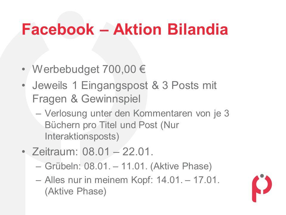 Facebook – Aktion Bilandia Werbebudget 700,00 € Jeweils 1 Eingangspost & 3 Posts mit Fragen & Gewinnspiel –Verlosung unter den Kommentaren von je 3 Bü