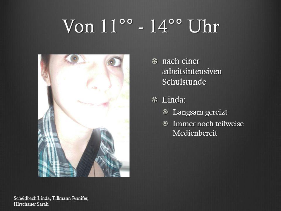Von 11°° - 14°° Uhr nach einer arbeitsintensiven Schulstunde Linda: Langsam gereizt Immer noch teilweise Medienbereit Scheidbach Linda, Tillmann Jenni