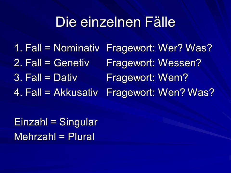 Die einzelnen Fälle 1. Fall = NominativFragewort: Wer? Was? 2. Fall = GenetivFragewort: Wessen? 3. Fall = DativFragewort: Wem? 4. Fall = AkkusativFrag