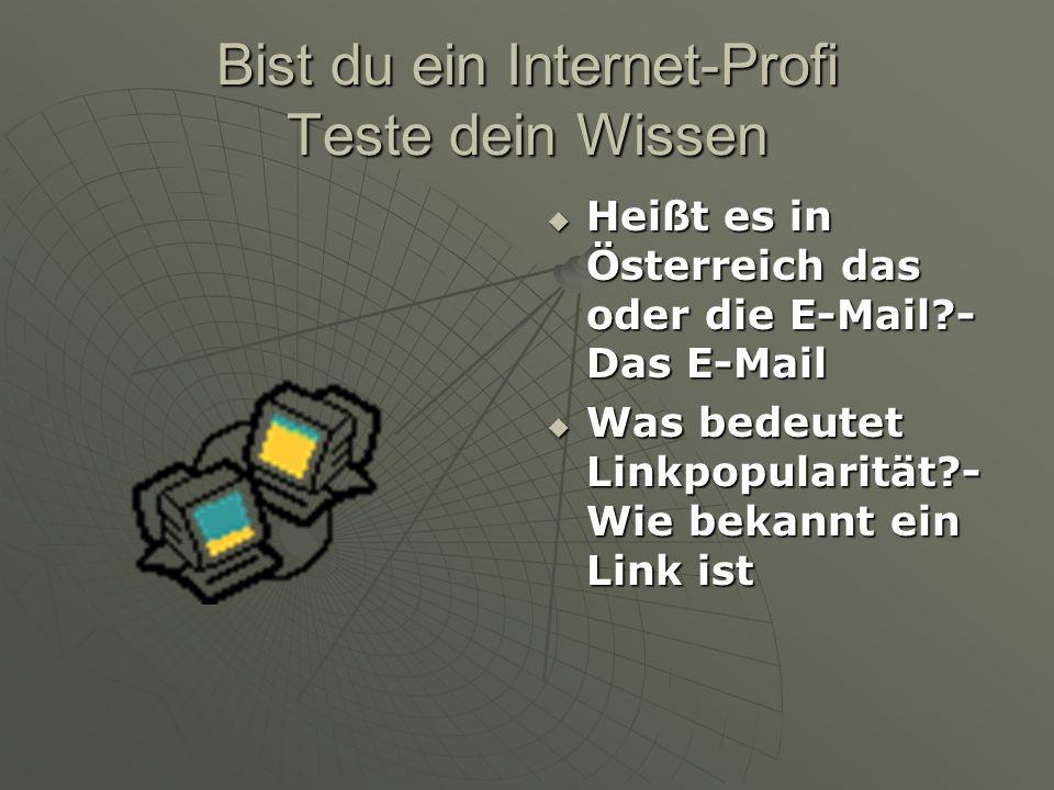 Bist du ein Internet-Profi Teste dein Wissen  Heißt es in Österreich das oder die E-Mail?- Das E-Mail  Was bedeutet Linkpopularität?- Wie bekannt ei