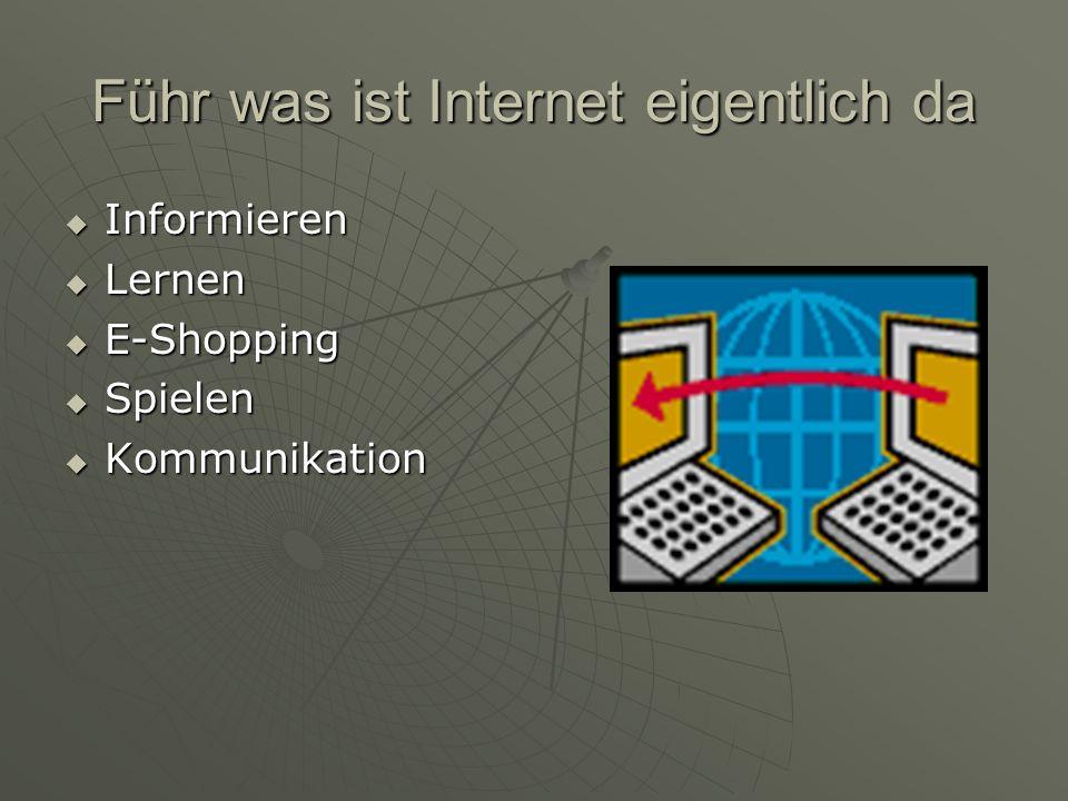 Führ was ist Internet eigentlich da  Informieren  Lernen  E-Shopping  Spielen  Kommunikation