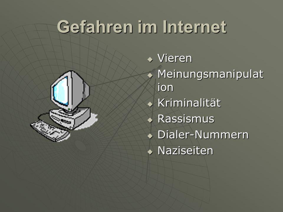 Gefahren im Internet  Vieren  Meinungsmanipulat ion  Kriminalität  Rassismus  Dialer-Nummern  Naziseiten