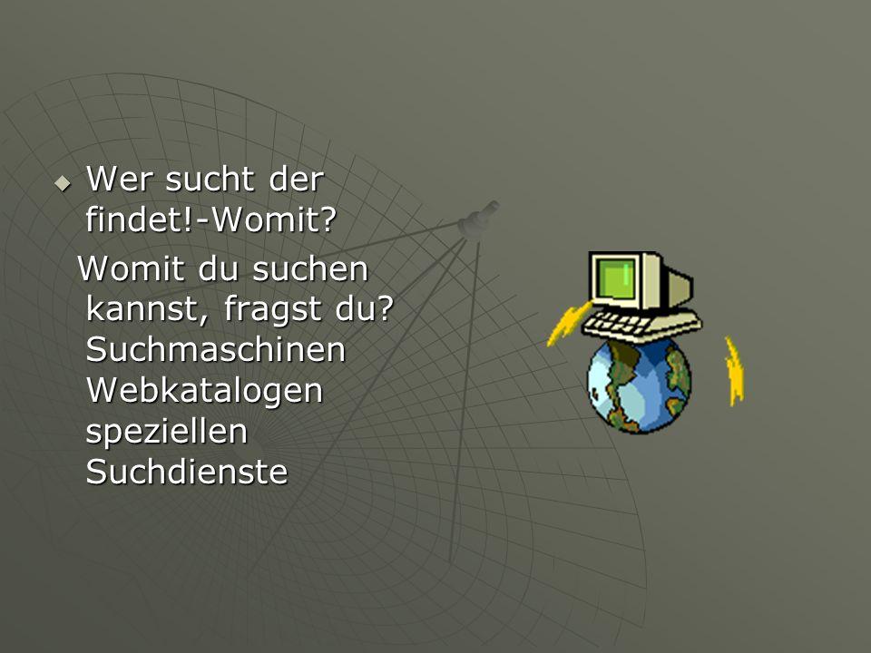  Wer sucht der findet!-Womit? Womit du suchen kannst, fragst du? Suchmaschinen Webkatalogen speziellen Suchdienste Womit du suchen kannst, fragst du?
