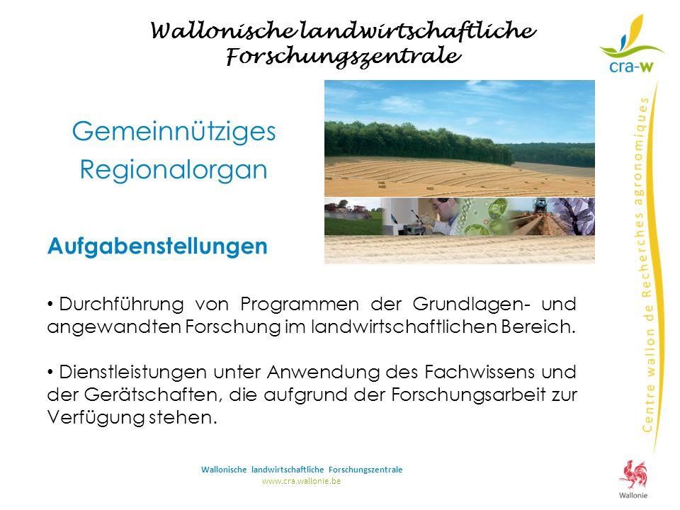 Wallonische landwirtschaftliche Forschungszentrale www.cra.wallonie.be Wallonische landwirtschaftliche Forschungszentrale Aufgabenstellungen Durchführung von Programmen der Grundlagen- und angewandten Forschung im landwirtschaftlichen Bereich.