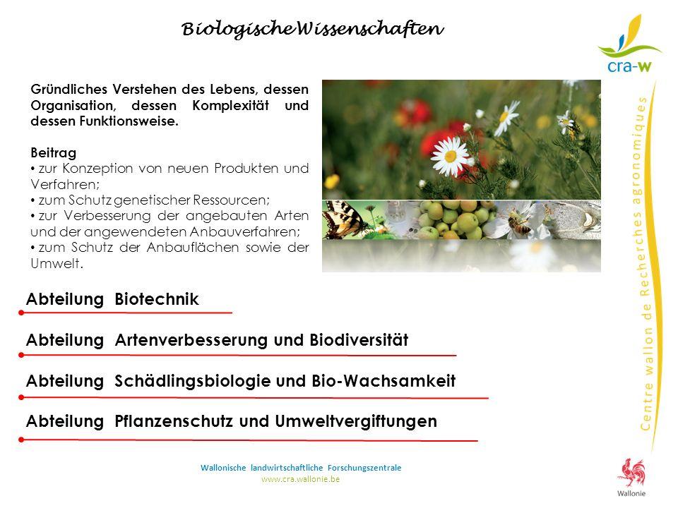www.cra.wallonie.be Abteilung Biotechnik Abteilung Artenverbesserung und Biodiversität Abteilung Schädlingsbiologie und Bio-Wachsamkeit Abteilung Pfla