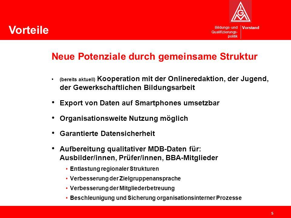 Vorstand Bildungs- und Qualifizierungs- politik Neue Potenziale durch gemeinsame Struktur (bereits aktuell) Kooperation mit der Onlineredaktion, der J