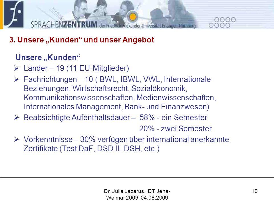 """3. Unsere """"Kunden"""" und unser Angebot Unsere """"Kunden""""  Länder – 19 (11 EU-Mitglieder)  Fachrichtungen – 10 ( BWL, IBWL, VWL, Internationale Beziehung"""