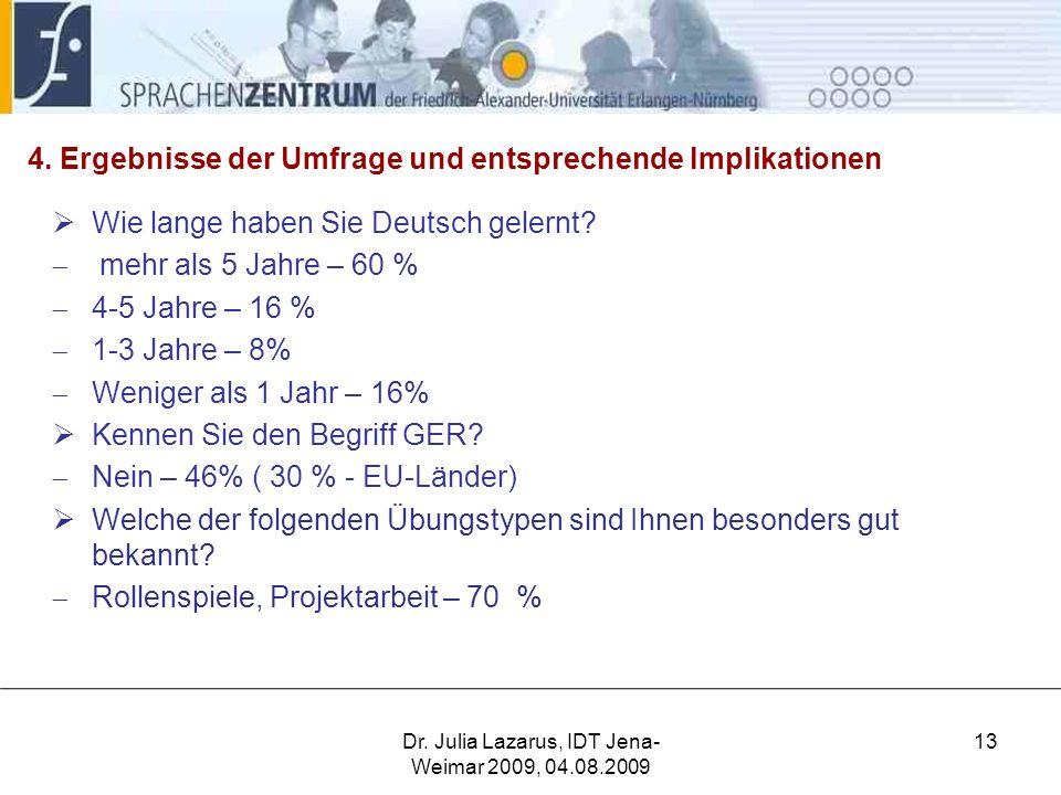 4.Ergebnisse der Umfrage und entsprechende Implikationen  Wie lange haben Sie Deutsch gelernt.