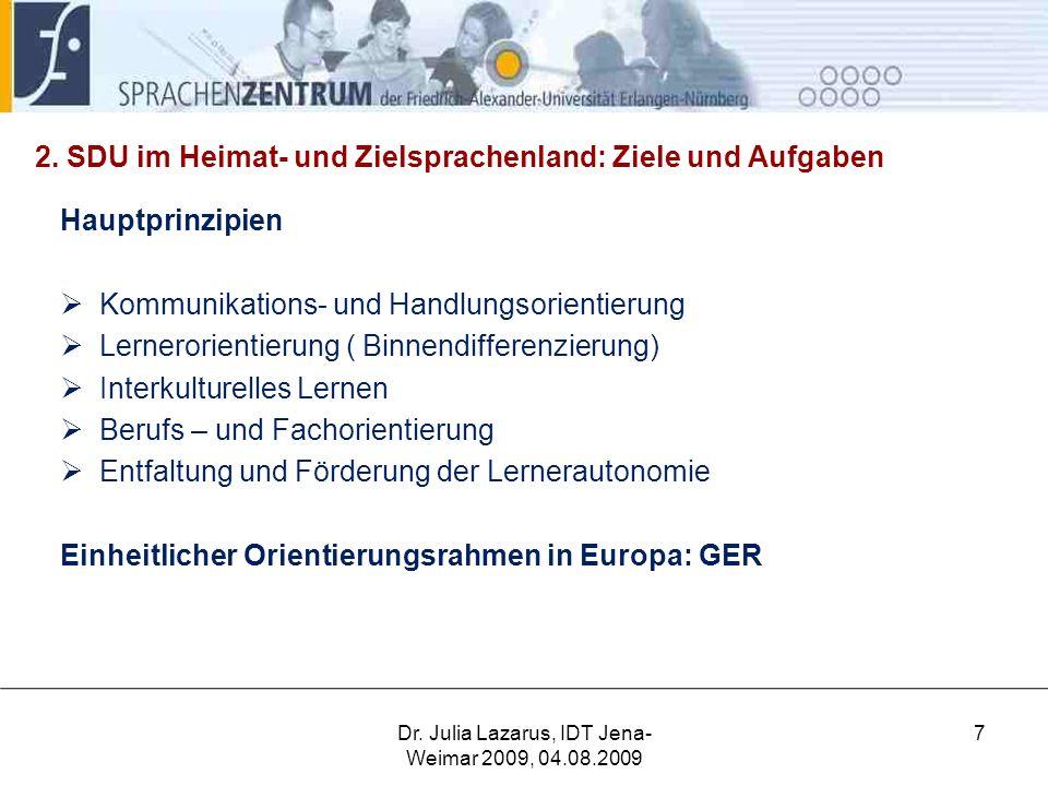 2. SDU im Heimat- und Zielsprachenland: Ziele und Aufgaben Hauptprinzipien  Kommunikations- und Handlungsorientierung  Lernerorientierung ( Binnendi
