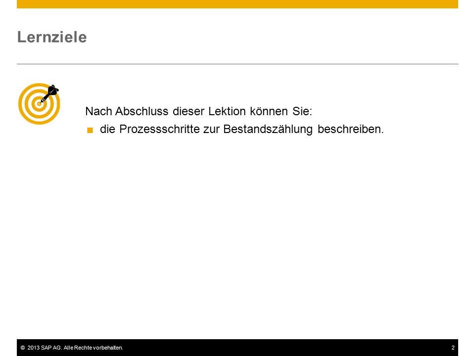 ©2013 SAP AG. Alle Rechte vorbehalten.2 Nach Abschluss dieser Lektion können Sie:  die Prozessschritte zur Bestandszählung beschreiben. Lernziele