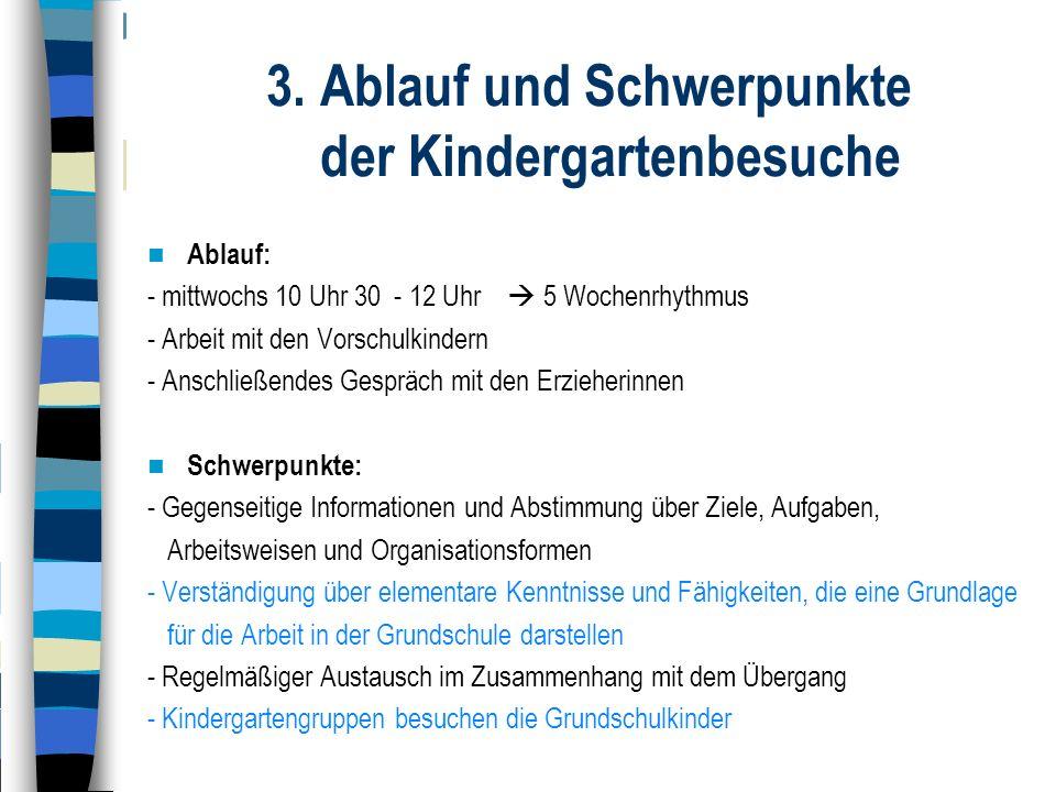 3. Ablauf und Schwerpunkte der Kindergartenbesuche Ablauf: - mittwochs 10 Uhr 30 - 12 Uhr  5 Wochenrhythmus - Arbeit mit den Vorschulkindern - Anschl