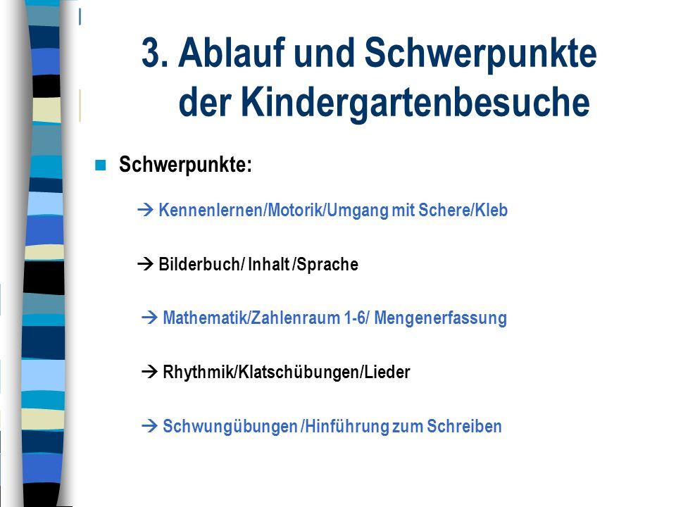 3. Ablauf und Schwerpunkte der Kindergartenbesuche Schwerpunkte:  Kennenlernen/Motorik/Umgang mit Schere/Kleb  Bilderbuch/ Inhalt /Sprache  Mathema