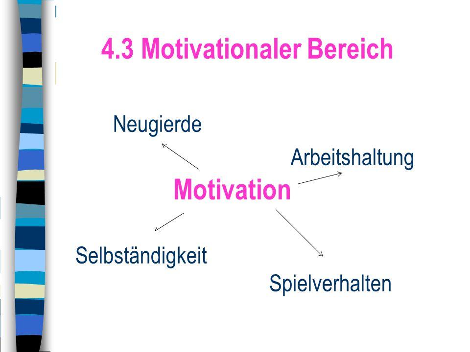 4.3 Motivationaler Bereich Neugierde Arbeitshaltung Motivation Selbständigkeit Spielverhalten