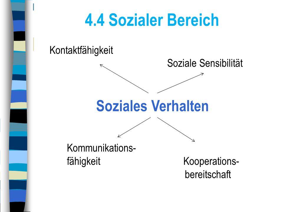 4.4 Sozialer Bereich Kontaktfähigkeit Soziale Sensibilität Soziales Verhalten Kommunikations- fähigkeit Kooperations- bereitschaft