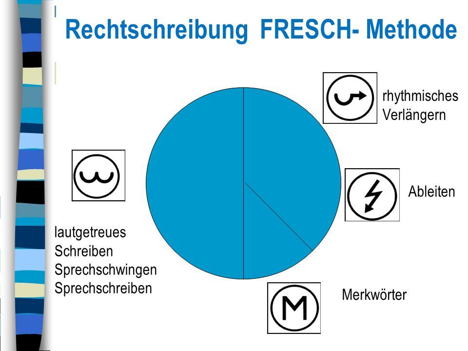 Rechtschreibung FRESCH- Methode lautgetreues Schreiben Sprechschwingen Sprechschreiben Merkwörter rhythmisches Verlängern Ableiten