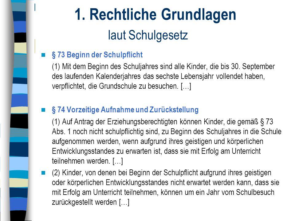 1. Rechtliche Grundlagen laut Schulgesetz § 73 Beginn der Schulpflicht (1) Mit dem Beginn des Schuljahres sind alle Kinder, die bis 30. September des