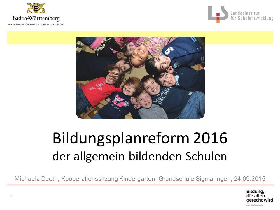 Bildungsplanreform 2016 der allgemein bildenden Schulen Michaela Deeth, Kooperationssitzung Kindergarten- Grundschule Sigmaringen, 24.09.2015 1