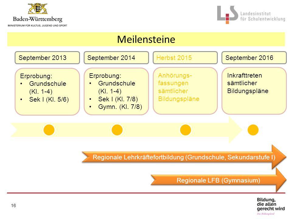 Meilensteine Regionale Lehrkräftefortbildung (Grundschule, Sekundarstufe I) Regionale LFB (Gymnasium) 16 September 2013September 2014Herbst 2015Septem