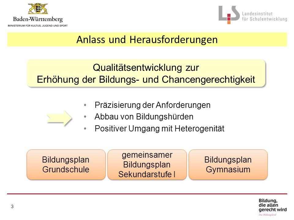 Präzisierung der Anforderungen Abbau von Bildungshürden Positiver Umgang mit Heterogenität Anlass und Herausforderungen 3 Qualitätsentwicklung zur Erh