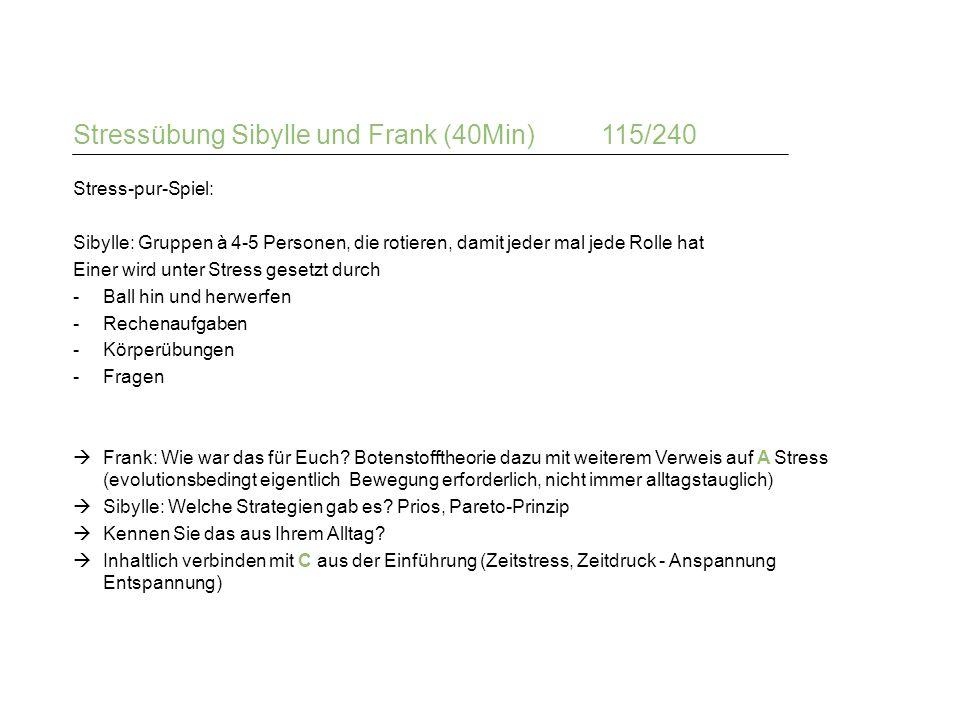 Stressübung Sibylle und Frank (40Min)115/240 Stress-pur-Spiel: Sibylle: Gruppen à 4-5 Personen, die rotieren, damit jeder mal jede Rolle hat Einer wir