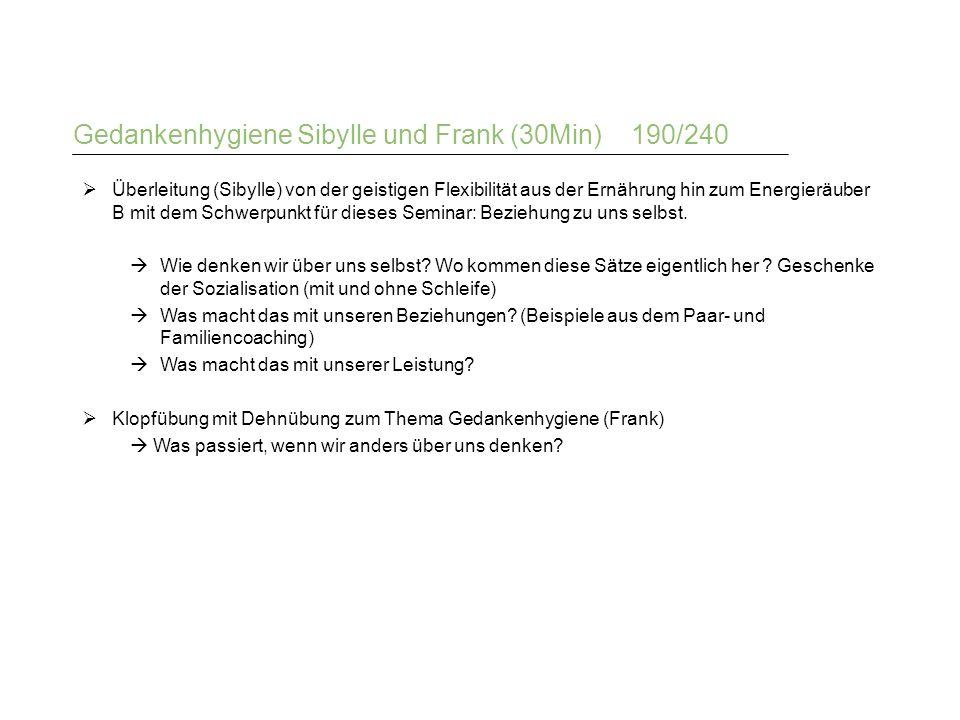 Gedankenhygiene Sibylle und Frank (30Min) 190/240  Überleitung (Sibylle) von der geistigen Flexibilität aus der Ernährung hin zum Energieräuber B mit